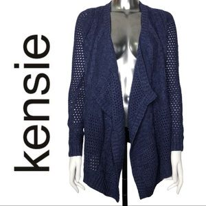 Kensie Cable and Open Knit Purple Cardigan Sweater